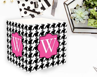 Houndstooth Personalized Sticky Note Note Cube Monogrammed Custom Personalized Birthday Office Teacher Co-Worker Gift Post It Notes