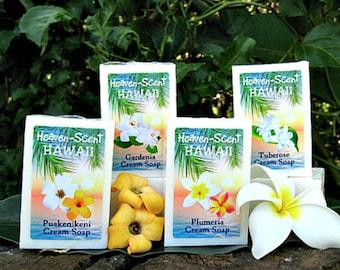 FOUR HAWAIIAN SOAPS: Your choice of Plumeria, Tuberose, Gardenia, Puakenikeni, Pikake and Tahitian Tiare. Lovely Wedding / Bridal Favors.