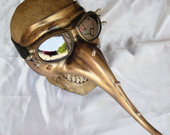 GOLD Distressed-Look PLAGUE DOCTOR Steampunk Mask with Spikes and Matching Detachable Goggles - A Burning Man Must Have
