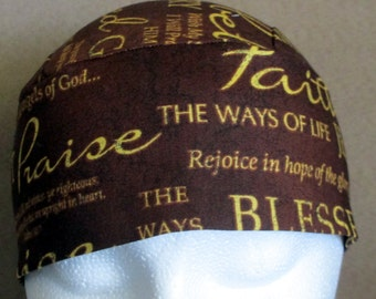 Brown Skull  Cap or Chemo Cap with Christian Words or Sayings, Hat, Head Cover,Do Rag, Bald,Hair Loss, Motorcycle, Helmet Liner, Bandana,