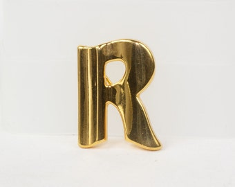 "Initial ""R"" Brooch, The Letter ""R""  Pin, Vintage, Goldtone Excellent vintage condition"