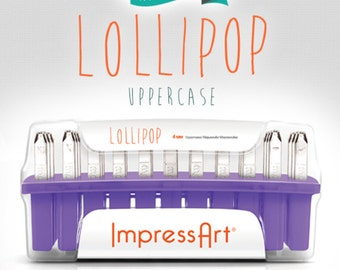 "Metal Stamp Set in ""Lollipop"" Impressart 4mm Uppercase-Metal Alphabet Set Plus 7 BONUS Stamps-Metal Supply Chick"
