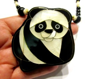 Panda Gemstone Necklace Vintage Genuine Mother of Pearl Onyx Gift for Her Under 50 Gift for Mom Black White Bear Jewelry