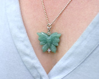 Fertility Necklace, Fertility Jewelry, Infertility, Green Aventurine Butterfly Pendant, Gift for Her, Adoption Gift, surrogate Gift, TTC