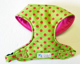 Polka dot Comfort Soft Dog Harness. - Made to order -