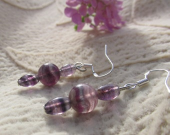 Fluorite Sterling Silver Earrings, Anti-panic, Healing Stone, Green and Violet Fluorite, Natural Gemstone Synergy, Stress Relief, Calming
