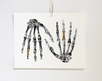 Symbolic Hands #1 with Gold Leaf, 11x14 print