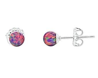 4mm Australian Royal Lavender Opal Ball Stud Post Earrings, 925 Sterling Silver, Small Minimalist Earrings, Petite, Purple Opal Earrings