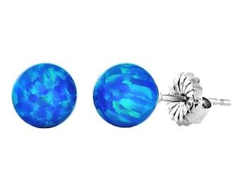 6mm Australian Pacific Blue Opal Ball Stud Post Earrings, Oceans, Solid 925 Sterling Silver, Minimalist Earrings, Blue Opal Earrings
