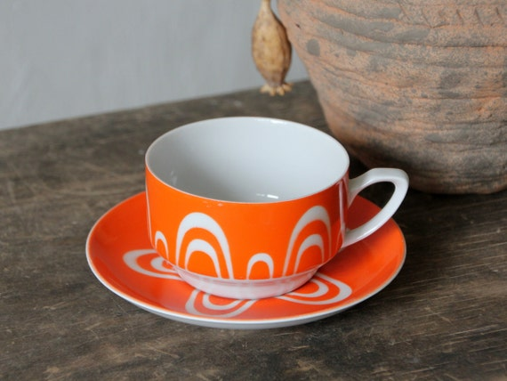 Beautiful cup and saucer, made in USSR, Riga Porcelain Factory