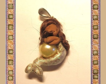 "Ooak 1.58"" Pendant Miniature tiny Mermaid is sleeping on a pearl full sculpt handmade"