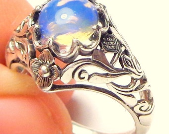 Sz 8.75,Welo Opal Ring,Sterling Silver Ring,Ethiopian,Semi-transparent,Pastel Color Play, Lavender,Blue,Yellow, Ornate Ring OOAK