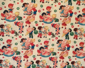 An Adorable Vintage Children In A Candy Shop By Michael Miller Cotton Fabric By The Yard Free US shipping