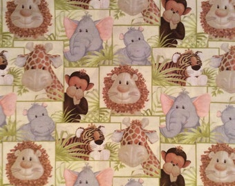 A Wonderful New Patty Reed Jungle Babies Patch Cotton Fabric By The Yard Free US shipping