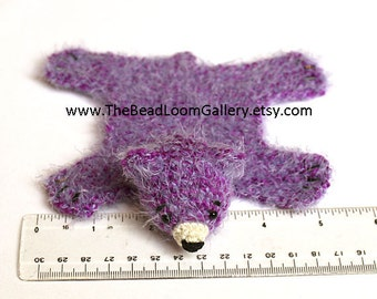 Dollhouse Miniature Knitted Bear Skin Rug - Purple - Limited Edition