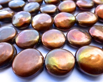 29 Golden Copper/Brown Fresh Water Coin Pearls in Size 13.5-14mm ——1 Strand