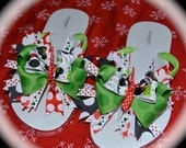 Custom Boutique Toddler Girls Bows Disney Christmas Vacation MINNIE MICKEY MOUSE Ribbon Flip Flops