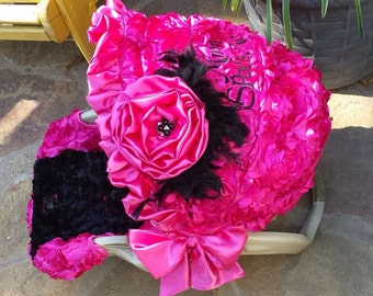 3D Rosette Flowers Fuschia Hot Pink and Black Reupholstered Car Seat Cover Canopy Head Protector Origami Rose Bling Ruffles Beautiful Custom