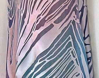 Mauve Pink Blue Silk Satin Burnout Yardage Belly Dance Veil