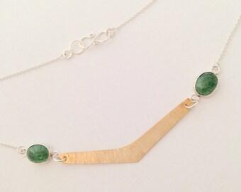 Hammered Brass Chevron, Green Aventurine Gemstone, Sterling Silver Necklace, Handmade