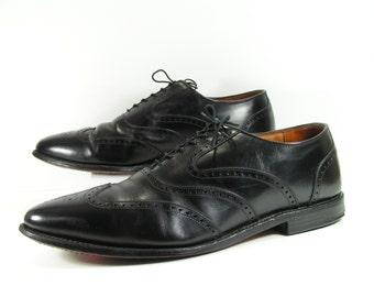allen edmonds wingtip shoes men's 14 D black oxford leather maclain