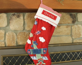 Airplane Stocking Pottery Barn Quilted Stocking ---  RED PLANE ---  Free Monogram