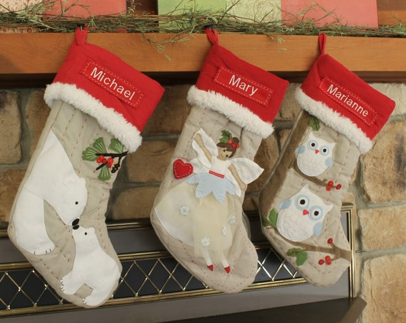 Owl Christmas Stocking With Monogram Pottery Barn Woodland