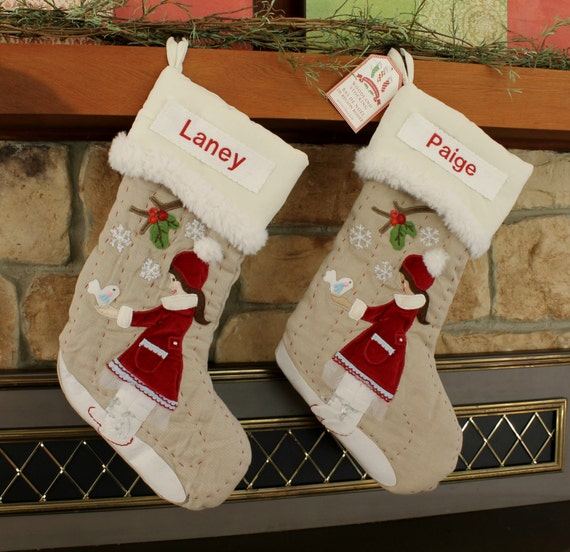 ice skater christmas stocking with monogram pottery barn. Black Bedroom Furniture Sets. Home Design Ideas