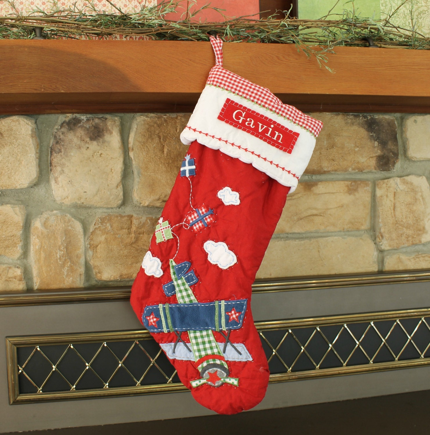airplane stocking pottery barn quilted stocking red plane. Black Bedroom Furniture Sets. Home Design Ideas