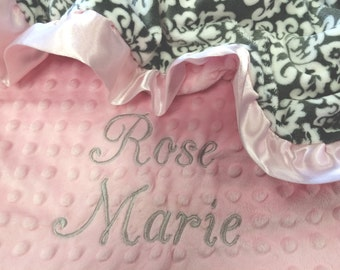 Gray and Pink Damask Minky Baby Blanket with Pink Satin Ruffle Trim