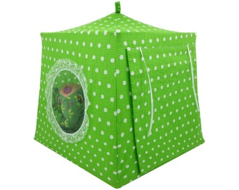 Toy Pop Up Tent, Sleeping Bags, lime green, polka dot print fabric for stuffed animals, dolls
