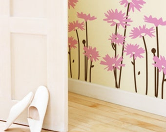 2sets daisy flowers----Removable Graphic Art wall decals stickers home decor