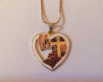 Vintage heart and cross necklace