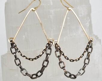 Gunmetal Chain Drape Fan Earrings, Jewelry, Silver or Gold, Womens