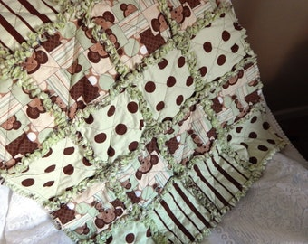Green and Neutral Monkey Baby rag quilt