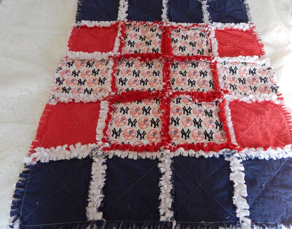 NEW YORK YANKEE Baby Boy Rag Quilt One Of A Kind With
