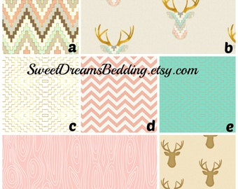 Custom Crib Bedding You Design   Bumper and Bedskirt  in PInk and Gold Deer