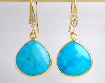 Natural turquoise gemstone earrings with vermeil frame, choose earwire-vermeil w/ cubic zirconia, 14K gold filled ear wire or lever back
