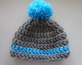 Chunky Beanie in Grey with Turquoise  for 0-3month Baby  or Reborn Doll