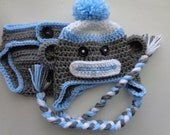 Sock Monkey Hat/Diaper Cover Set for 0-3month Baby Boy or Reborn Doll in Gray and Blue