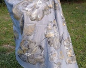 """Charcoal Grey Shawl Hand Painted """"Autumnal Evening"""" light charcoal gray pashmina, warm grey, gold and grey, newtral color accessory,"""