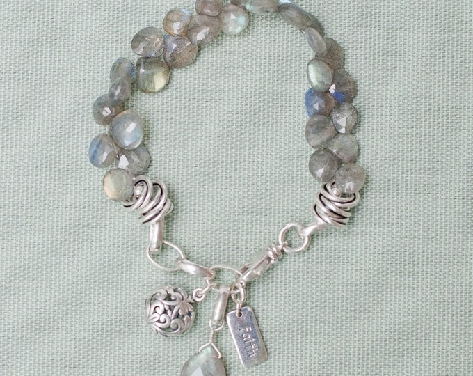 Faceted Labradorite Gemstone Charm Bracelet