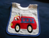 Fireman Truck with Washcloth, over the head bib