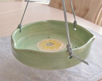 Bird Feeder Hanging Planter Pottery Handmade Ceramics Stoneware Turquoise