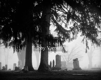 Ashland Cemetery I Black and White Fine Art Cemetery Photograph - Free Shipping in US-