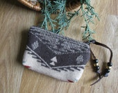 Medicine Bag, Totem, Smudge Pouch, Coin, Card,  Zippered Change Purse Spirit Pattern 4.5 x 3