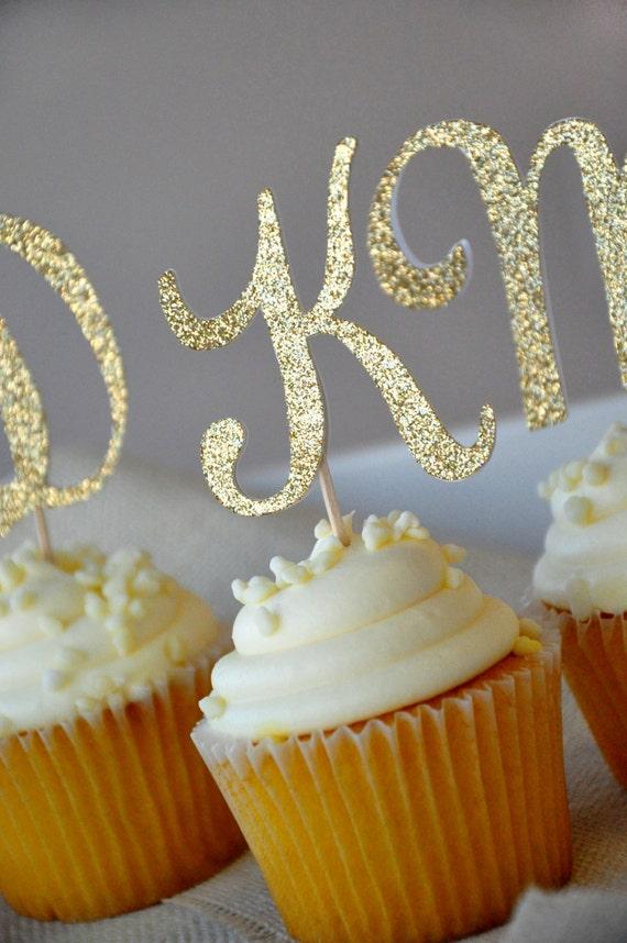 Glitter monogram cupcake topper