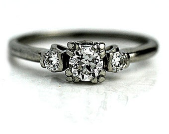 Vintage Engagement Ring Antique Three Stone Diamond Ring Platinum Vintage Diamond Engagement Wedding Ring Size 5 3/4 !