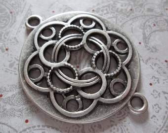 Large Silver Twisted Celtic Knot Connector Pendant - Artisan Handmade - Ethnic Style - Oxidized & Antiqued Silver Plated Pewter - Qty 1