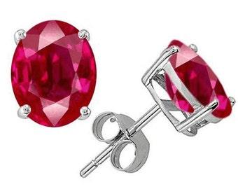 ruby earrings  14k white gold